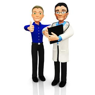 3D Doctor with a patient smiling ? isolated over a white background