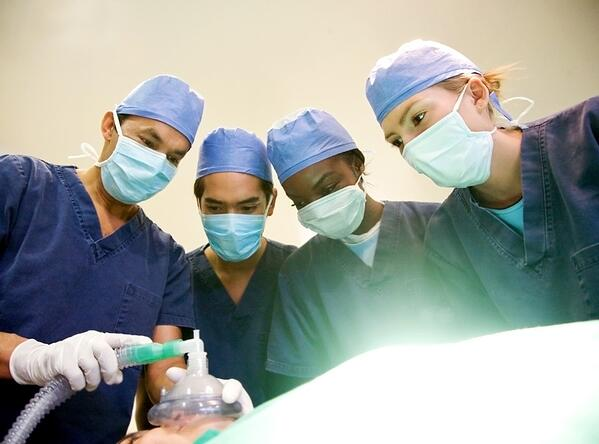 group of surgeon doctors in a hospital